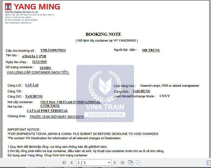 Đây là mẫu booking note của hãng tàu Yangming