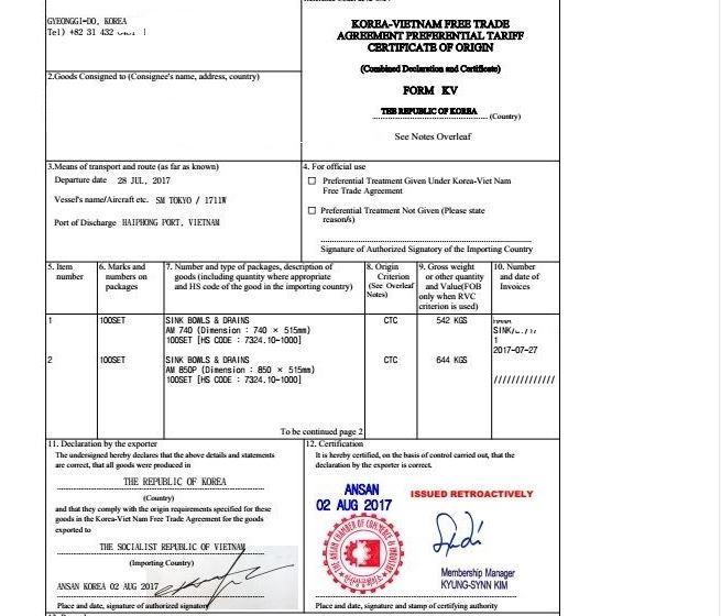 C/O Form KV đạt tiêu chí CTC. Nguồn: vinatrain.edu.vn