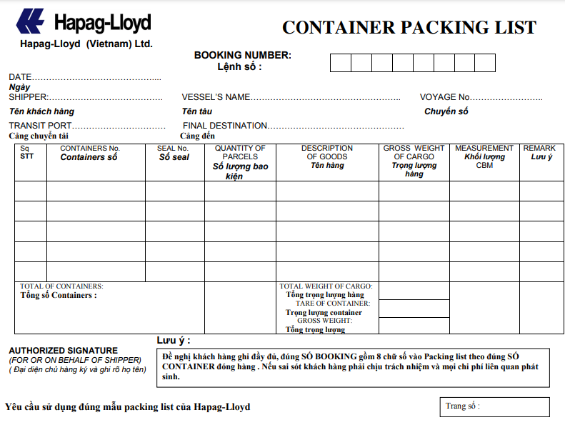 Container Packing List (phiếu hạ container) của Hapag - Lloyd