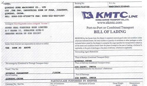 Master Bill mẫu của hãng tàu KMTC phát hành. Nguồn: dungtransport.com