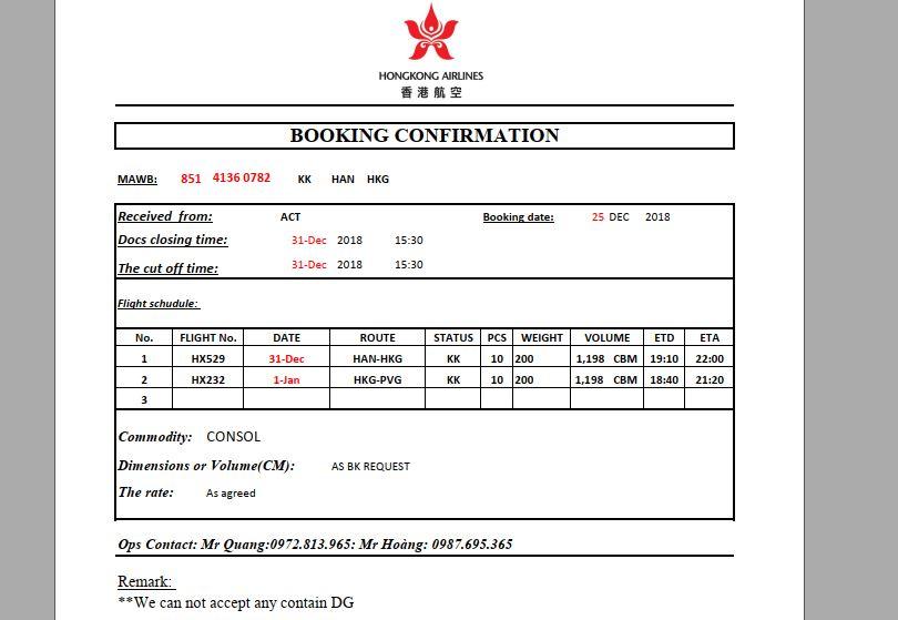 Tham khảo mãu booking confirmation của hàng hàng không