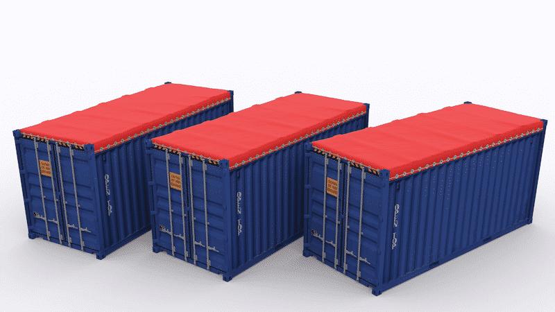 Container mở nốc được dùng tấm bạc che phủ hàng hóa