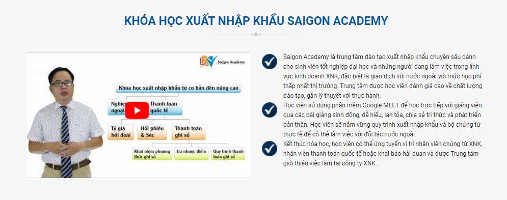 Khóa học xuất nhập khẩu online tại SaigonAcademy